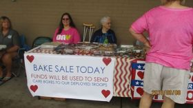 bake sale for $ for boxes to troops 9 2018